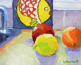Still Life Oil Painting on Small Canvas Colorful Fish and Fruit