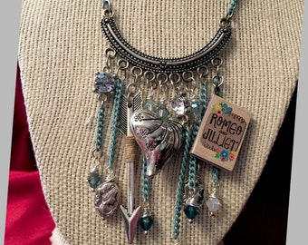 Romeo and Juliet Necklace, silver with turquoise chain