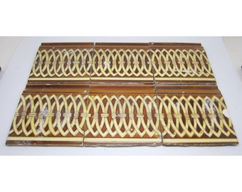 Brown & tan decorative square edge tile set