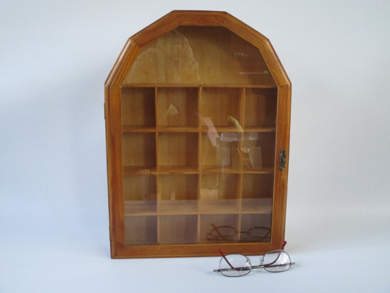 Display Case Vintage Wood Curio Cabinet Wall Shelves Pine
