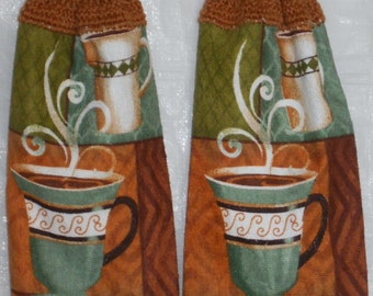 Set of Steaming Coffee Kitchen Towels