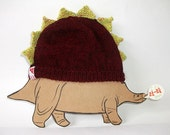 Cute Toddler Dinosaur Hat in Mottled Burgundy, 2 years Upwards - Ready to Ship