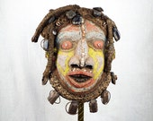 RESERVED FOR SILVIA  Bamileke Cameroon African Wood Beaded Mask  Ceremonial, Unique Primitive  Decoration, Accent Art Sculpture Face