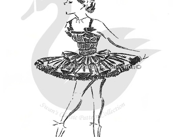 Vintage Girls Ballet Tutu Sewing Pattern Size 10years PDF
