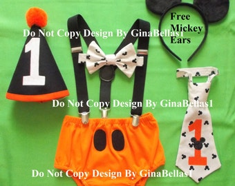 Mickey Mouse Birthday cake smash Halloween costume outfit suspenders FREE EARS diaper cover bowtie OR I am one tie hat 12 18 24 toddler