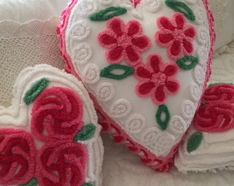 Vintage Chenille Daisy Heart Pillow ~ Pink and Red Daisies, Large Heart Pillow