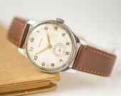 Pobeda watch classy, men's watch mid century, Soviet men's watch, unisex watch retro, tomboy wristwatch Victory, premium leather strap new