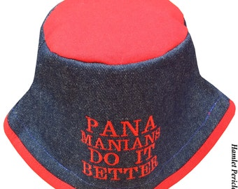 Blue Denim Red Poly-cotton Bucket Hat | Panamanians Do It Better Embroidered Hat | Panama Hat | Denim Hat by Hamlet Pericles | HP3916d