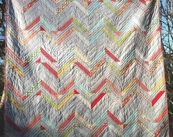 ON SALE* Double Chevron quilt, Moda Bake Shop, Summerfest, modern traditional, cotton queen size 85''x85''