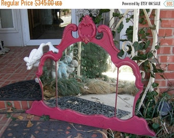 ON SALE Gorgeous Pink Wall Mirror Chic Tiara Crown Top Ghosty Spots Silvering Antique Vintage Shabby Chic