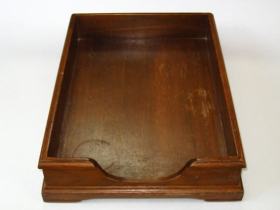 Vintage Nucraft Wood Office Legal Paper Tray Letter Sorter