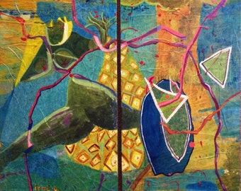 Abstract Original Painting Mixed Media Tropical blues and yellows pineapple Diptych birch wood panel