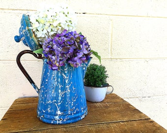 Enamel COFFEE POT | Antique c.1910's-1920's Light Blue and White Swirl Enamelware | Large Enamel Ware Coffeepot | Vintage Graniteware |