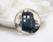 Handmade Round Dr.Who Tardis Photo Glass Cabochons (P3643)