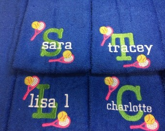 Personalized Tennis towel for team, coach gift in any colors with  custom embroidery, message for team orders, please