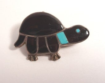 Sterling Zuni Pin, Turtle Brooch, Pin Pendant, Turquoise Onyx, Inlaid, Vintage Zuni, Turtle Pin, Fred Harvey Era, Unusual