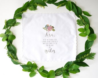 Wedding Handkerchief for SISTER. Printed handkerchief. Wedding handkerchief.