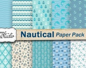 Nautical Digital Paper, Marine Paper Pack, Sea Blue Patterns, Printable Scrapbook Paper, Craft Papers, Digital Download, Digital Collage