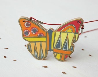 Colorful Butterfly Necklace Hand Painted on Wood Art Pendant Animal Necklace