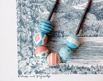 Beaded necklace long, boho necklace, wood necklace,blue and coral necklace wooden bead necklace