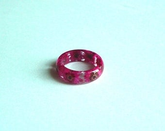 Hand Made Real Hot Pink Chrysanthemums Flower Circle Convex Ring,Band Ring Gift idea