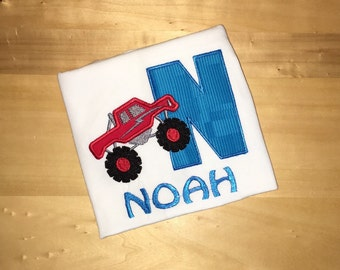 Monster Truck Monster Jam Embroidered Initial or Number Shirt
