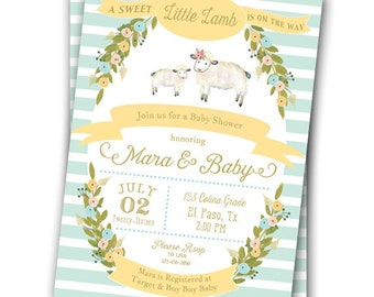 Little Lamb Invitation Baby Shower Birthday Pastel Gold Pink Blue 5x7 Printable  1st Birthday Little Lamb Baby Shower Invitation