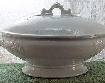 Antique Whitestone Covered Vegetable Bowl on  Pedestal from John Hawthorne Cobridge