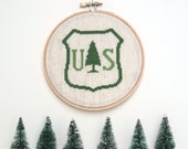 US Forest Service cross stitch | Travel souvenir