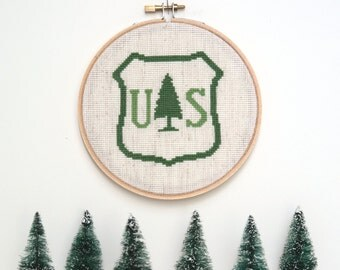 US Forest Service emblem | Modern cross stitch | Travel souvenir