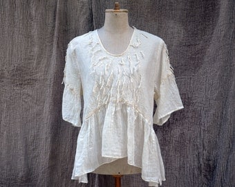 white washed linen blouse M size unique european fashion, embroidered natural eco wearable art twine loops linen art to wear hemp burlap 402