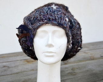 big slouch beret winter hat unique, modern look fashion design woman art to wear wearable artblue grey brown felted wool
