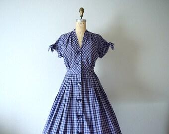 1950s plaid dress . vintage 50s blue dress