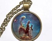 EAGLE NEBULA Necklace, Pillars of Creation, Scutum Constellation, Galaxy, Space, Universe, Art Pendant Necklace, Handmade Jewelry