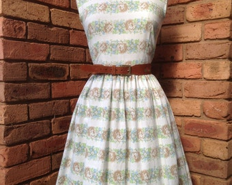 Brown and green floral tea dress Size 8-10 Ready to ship