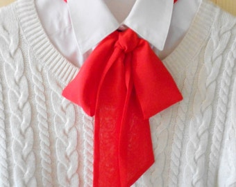 Red Bow Tie Scarf / Women Neck Accessory / Necktie Ascot Scarf