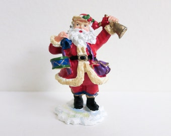 Vintage Miniature Metal Santa with Drum snd Bell - Colorful Miniature Christmas Decoration - for Display, Wreath, Dollhouse