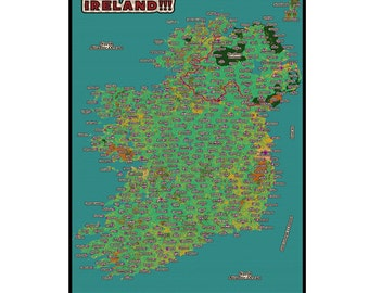IRELAND MAP 4G- Handmade Leather Wall Hanging - Travel Art