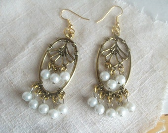 Gold and Pearl Baroque Earrings, Gold Filigree with Pearl Beads Danglers,  Glam Earrings, Elegant, Fashionista, Stylish, Trendy