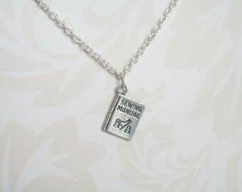 Sewing Necklace, Necklace with Sewing Manual Charm, Sewing Machine,Seamstress, Sterling Silver, Singer, Needle and Thread, Eye of the Needle