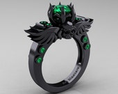 Art Masters Classic Winged Skull 14K Black Gold 1.0 Ct Emerald Solitaire Engagement Ring R613-14KBGEM