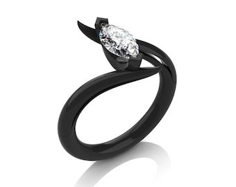 Savage 14K Black Gold 1.0 Carat Marquise White Sapphire French Engagement Ring R418-14KBGWS