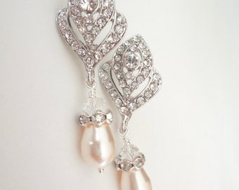 Pearl earrings ~ Rose bud posts ~ Brides earrings ~ Crystal earrings, Bridal jewelry ~ Art deco, Vintage style, Wedding earrings, Stunning