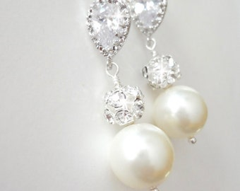 Pearl earrings - Sterling silver posts - Cubic Zirconias - Bridal Jewelry - Bridesmaids earrings - Wedding jewelry ~ Wonderful gift ~ LOLITA
