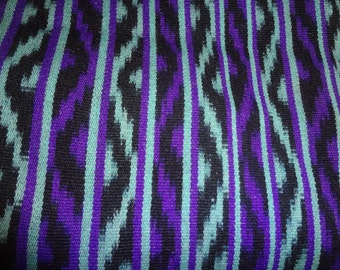 """Vintage  Guatemala Striped  hand woven Fringed  Shawl or Table Runner 64"""" X 24""""  Purple  Turquoise"""