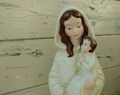 Vintage Virgin Mary Statue With Baby Jesus - Antique Religious Figurines + Catholic Home Decor, Tall Blessed Virgin Mary Ceramic Art on SALE