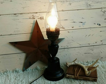 Colonial Black Metal Toleware Lamp - Colonial Style Working Candlestick Lamp, Black + Gold Working Desk Lamp, Bedside Light, Colonial Lamp