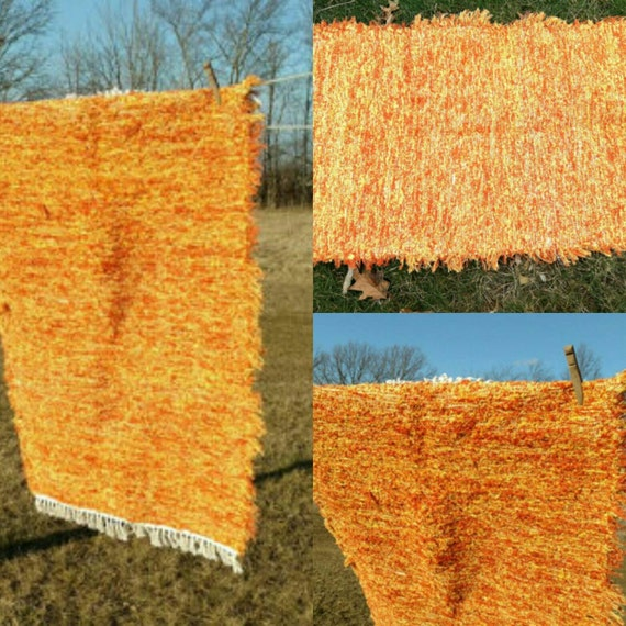 Rug Or Rag Meaning: Amish Rag Rug In Tangerine Colorful Durable By
