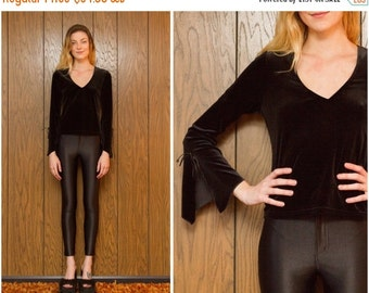 SALE Vintage 80s 90s Bell Sleeve Witch Wiccan Goth Gothic Shiny Black Velvet Industrial Club Kid Rave V Neck Blouse S M