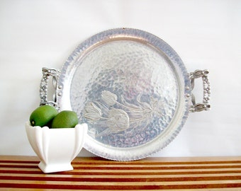 Mid Century Hammered Aluminum Tray with Ornate Handles, Cocktail Tray, Serving Tray